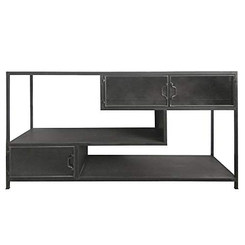 By-Boo TV Möbel Tuck 140 cm Glastüren Sideboard Kommode Board Metall schwarz