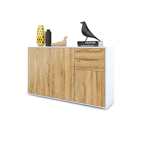 Vladon Kommode Sideboard Ben V3, Korpus in Weiß matt/Fronten in Eiche Nature