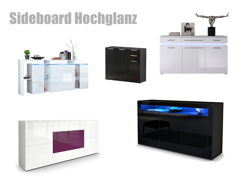 sideboard hochglanz. Black Bedroom Furniture Sets. Home Design Ideas